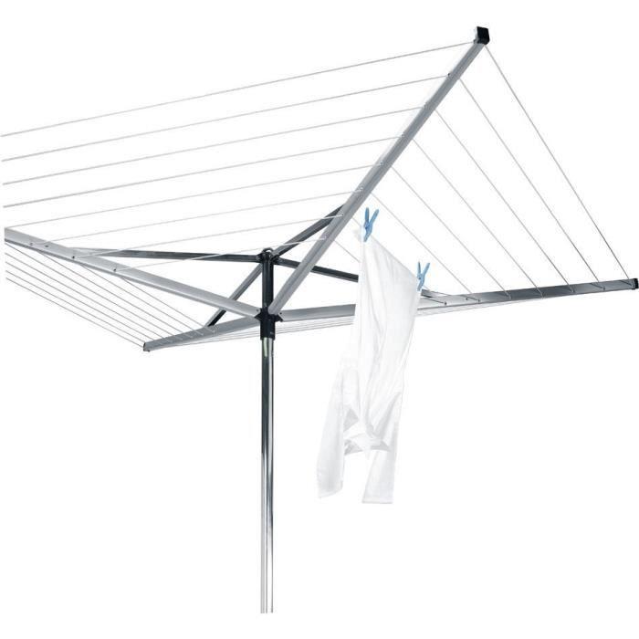 BRABANTIA - 310683 - Séchoir Essential - 50 mètres – douille plastique – Ø 35 mm – 4 bras – Metallic Grey