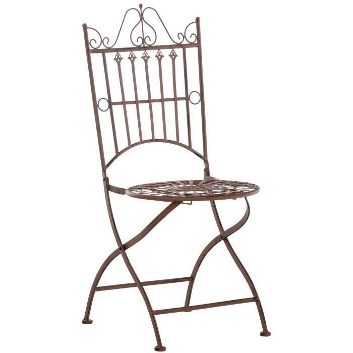 Chaise de Jardin Pliante Sadao en Fer forgé avec Hauteur d'Assise 44 cm [Marron antique]