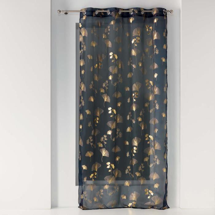 Voilage a oeillets 140 x 240 cm voile Bloomy Marine/or
