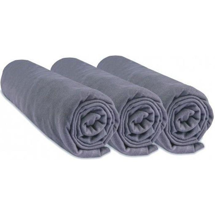 Lot de 3 draps housse coton 60x120 gris