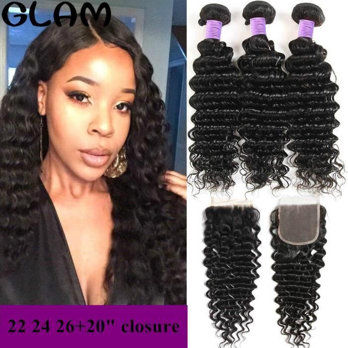 Brésilien Deep Curly Wave 3 tissage 100g-p avec 4x4 Free Part Closure 100% Virgin Cheveux humains 22 24 26+20- closure