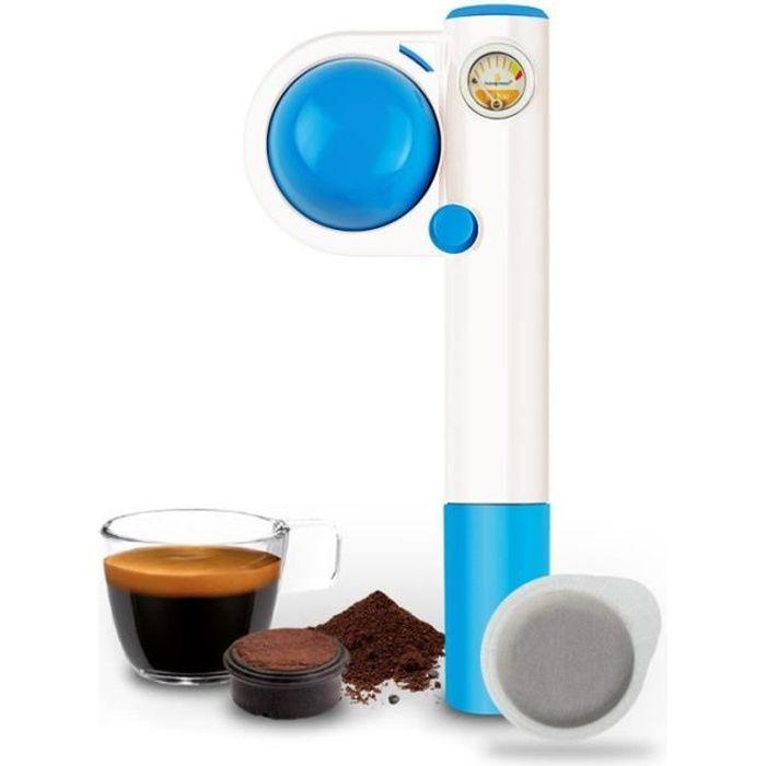 Handpresso Pump Pop bleue machine à café de voyage portable et manuelle 16 bars pour dosette expresso E.S.E. ou café moulu