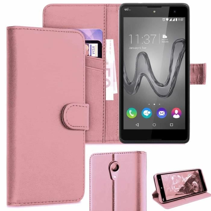 Coque pour Wiko Robby, Etui Wiko Robby, Housse Pochette Portefeuille Wiko Robby -Rose