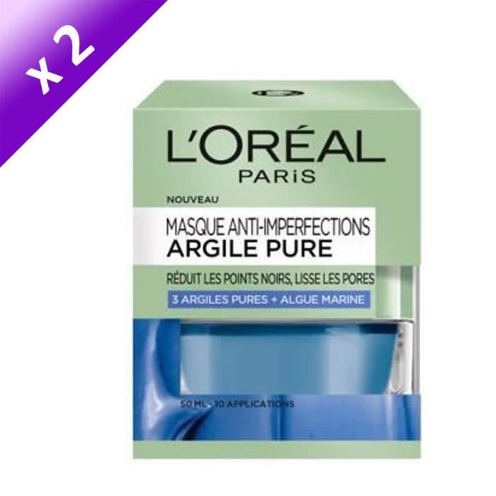 [LOT DE 2] L'ORÉAL PARIS Masque Visage Anti-imperfections Argile Pure - 50 ml