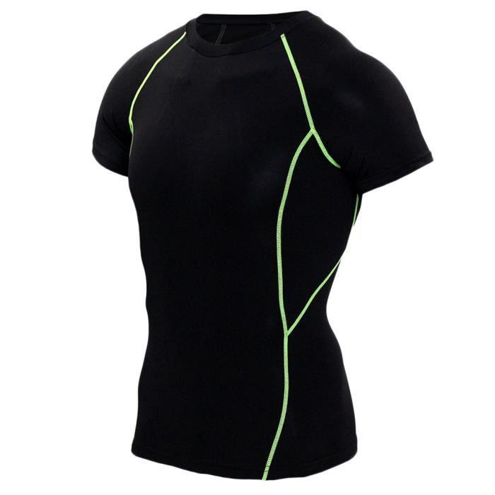 Homme T-Shirt De Compression À Manches Longues Sports Séchage Rapide Baselayer Vert Court XL