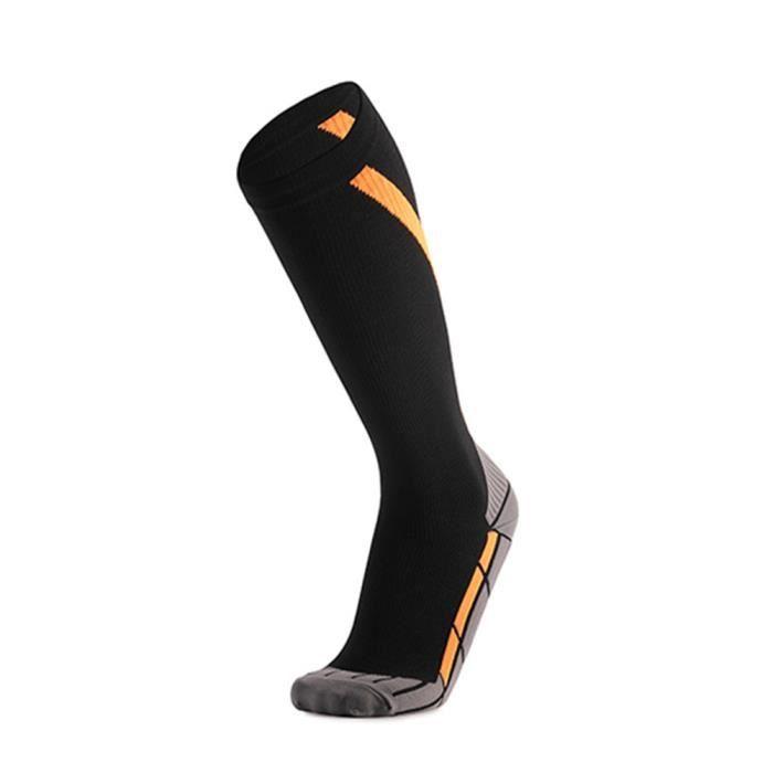 Chaussettes de Compression À Tube Haut Antidérapantes,Chaussettes Pour Hommes et Femmes Multifonctionnelles,Orange,Hommes