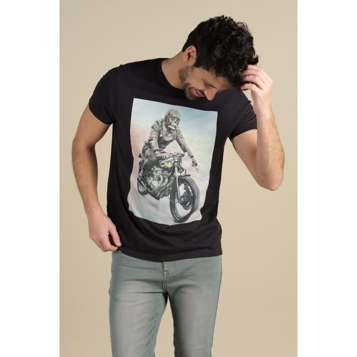 DEELUXE T-shirt imprimé moto RINGO Charcoal