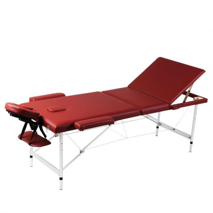 Table de Massage Pliante 3 Zones Rouge Cadre en Aluminium