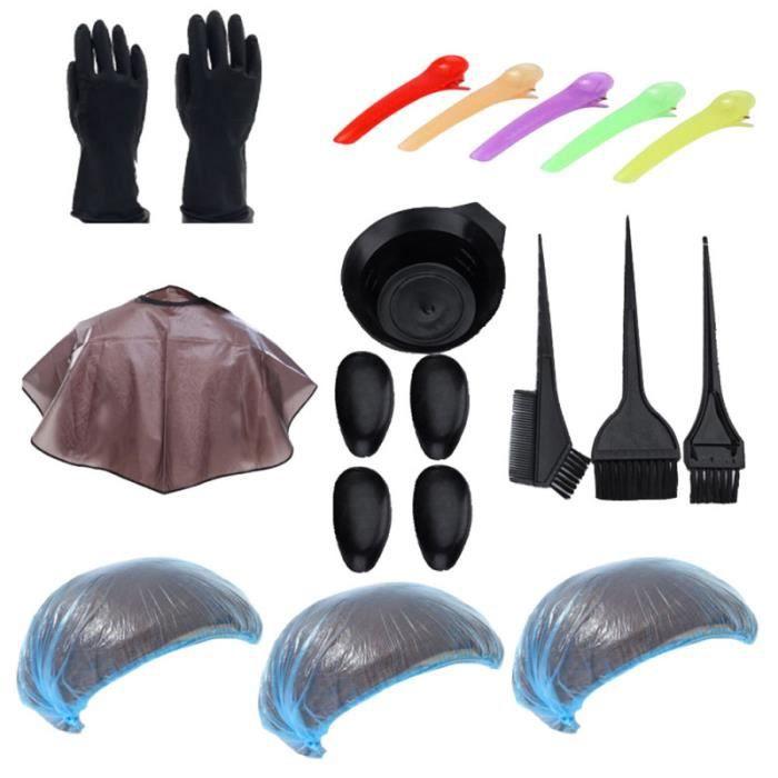 21pcs en 1 ensemble de kits de coloration des cheveux outils légers de teinte de pour salon de coiffure BROSSE MANUELLE - PEIGNE