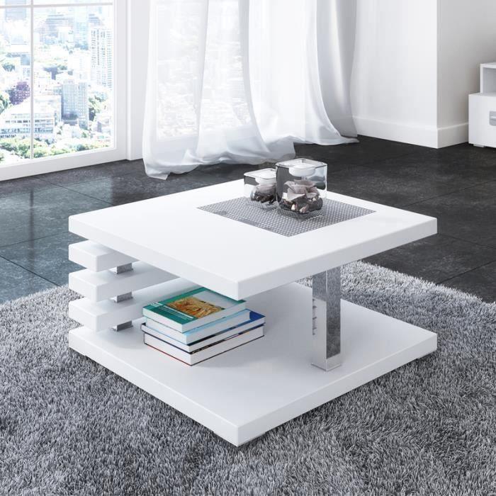 Table basse design - ARIENE - 60x60 cm - blanc mat - étagère pratique sous le plateau