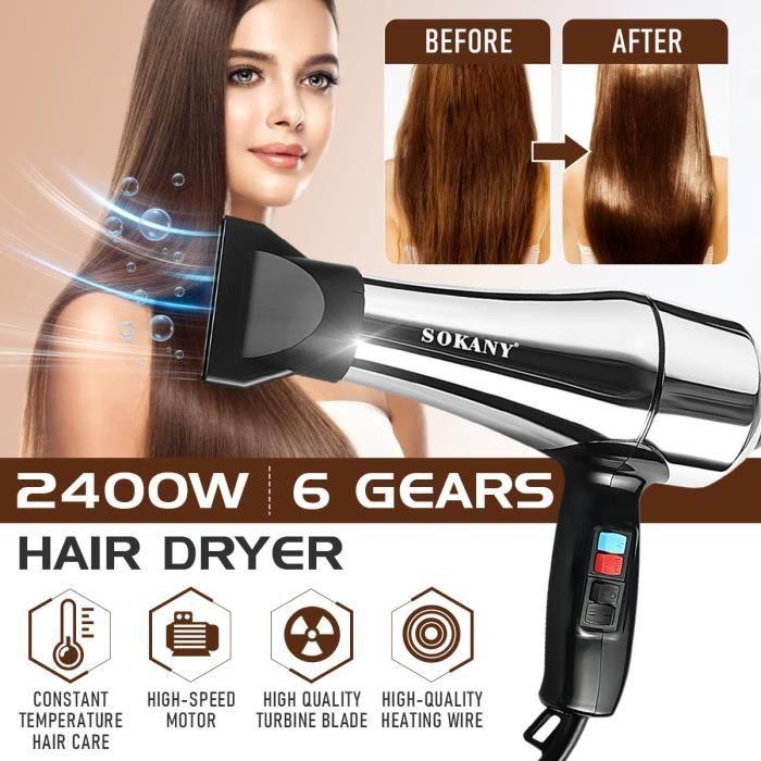 SOKANY Sèche-Cheveux Ionique 2400W 6 Vitesses Froide & Chaude Coiffure Maison Voyage