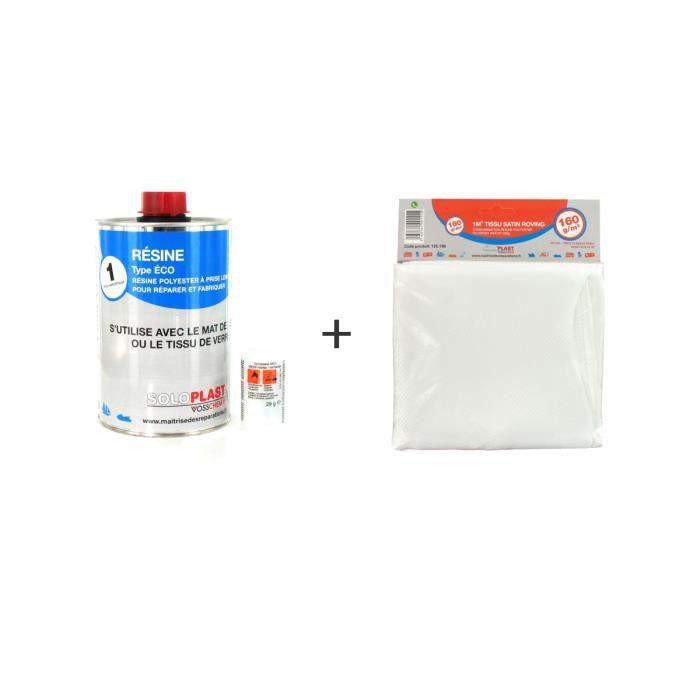 Pack résine polyester type Eco Soloplast 1 Kg - Tissu de verre Soloplast Roving 160g/m2