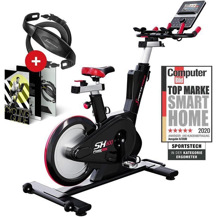 Sportstech SX600 vélo Appartement + Console Intelligente Android, système de freinage magnétique,Volant avec un poids de 26KG