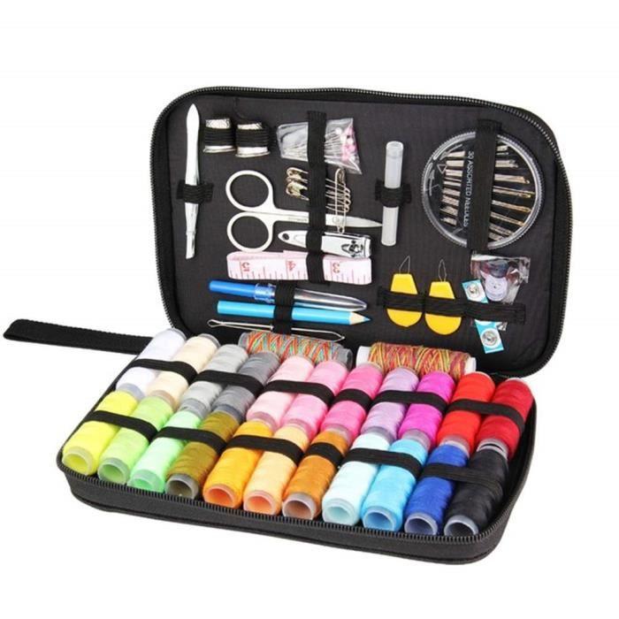 Kit de Couture DIY 97pcs Fournitures Accessoires de Couture de Ménage avec boîte Portable Pour Voyage Maison Débutants Adultes