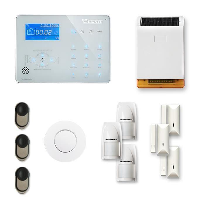 Alarme maison sans fil ICE-B 3 à 4 pièces mouvement + intrusion + détecteur de fumée + sirène extérieure solaire - Compatible Box /