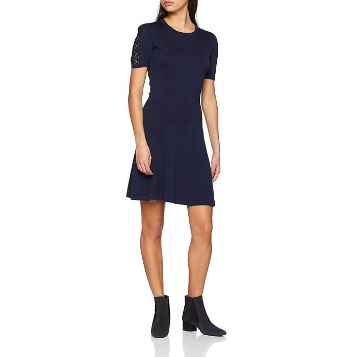 Tommy Hilfiger Widra C-NK SWTR Dress Robe, Bleu (Midnight 403), Large Femme - WW0WW23621-403