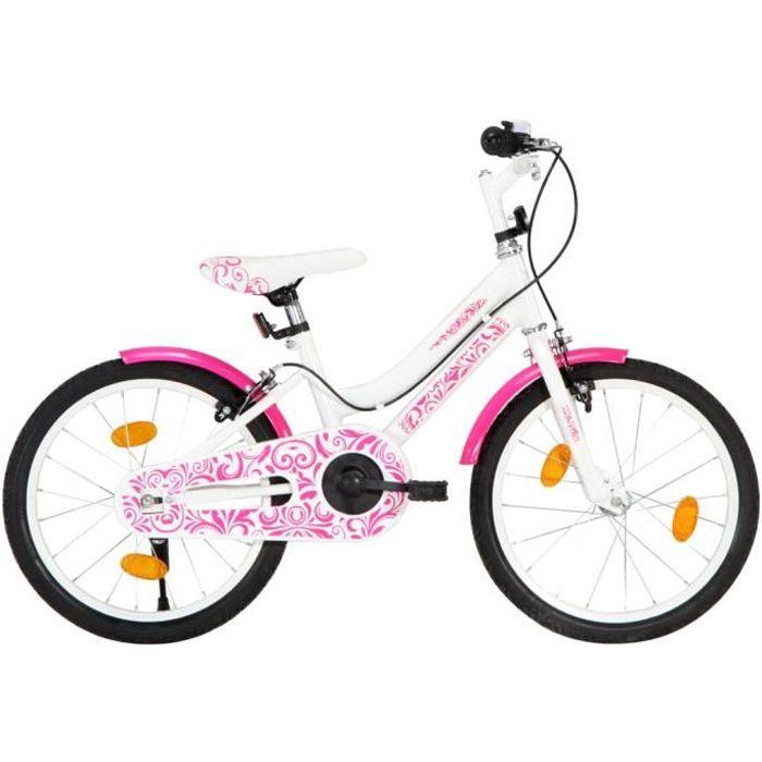 vidaXL Vélo pour enfants 18 pouces Rose et blanc