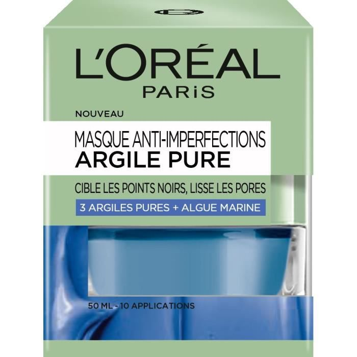 L'ORÉAL PARIS Masque Visage Anti-imperfections Argile Pure - 50 ml
