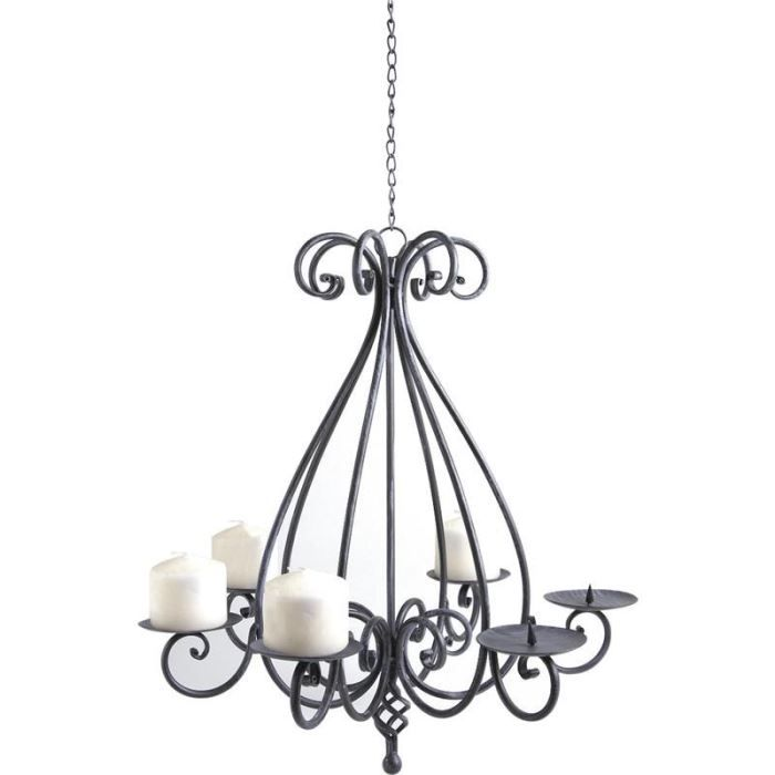 lustre chandelier 6 bougies en m tal gris 52x56 achat vente lustre chandelier 6 bougies. Black Bedroom Furniture Sets. Home Design Ideas