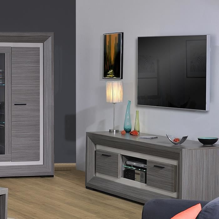meuble tv lumineux couleur teck cendr et gris laqu. Black Bedroom Furniture Sets. Home Design Ideas