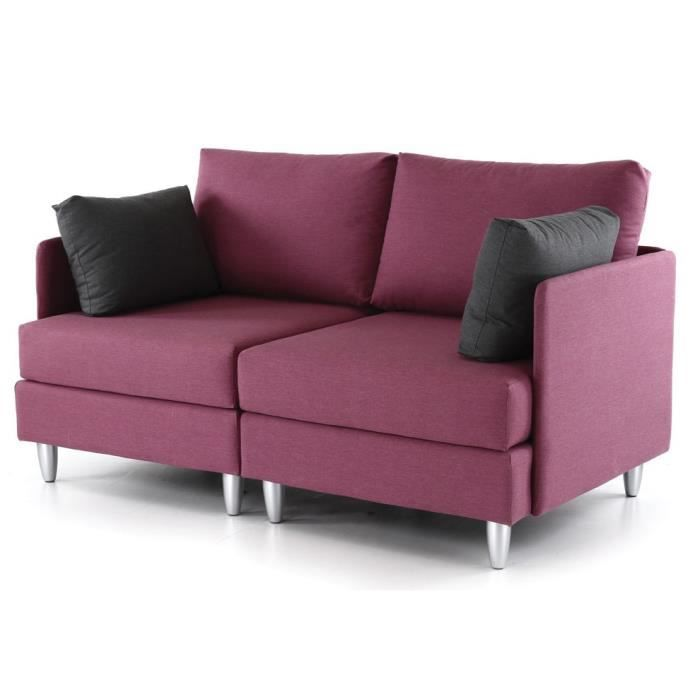 Canap 2 places fuschia coussins gris leggos achat for Nouvelle collection canape