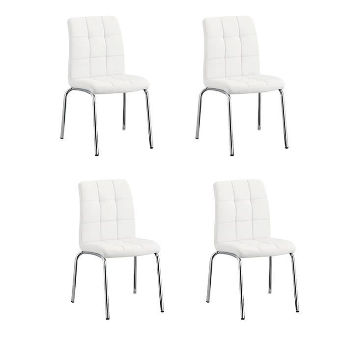 lot de 4 chaises salle manger blanches nursia achat vente chaise blanc cdiscount. Black Bedroom Furniture Sets. Home Design Ideas