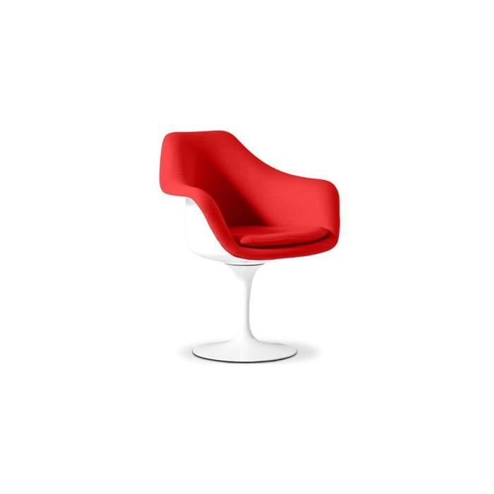 fauteuil tulipe inspir eero saarinen pu achat vente fauteuil rouge cdiscount. Black Bedroom Furniture Sets. Home Design Ideas