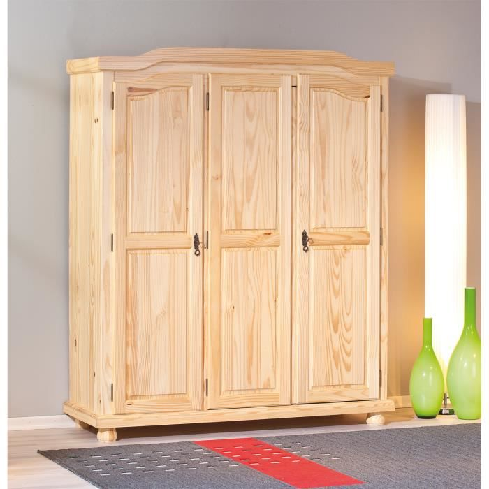 armoire design rustique 3 portes en bois massif achat. Black Bedroom Furniture Sets. Home Design Ideas