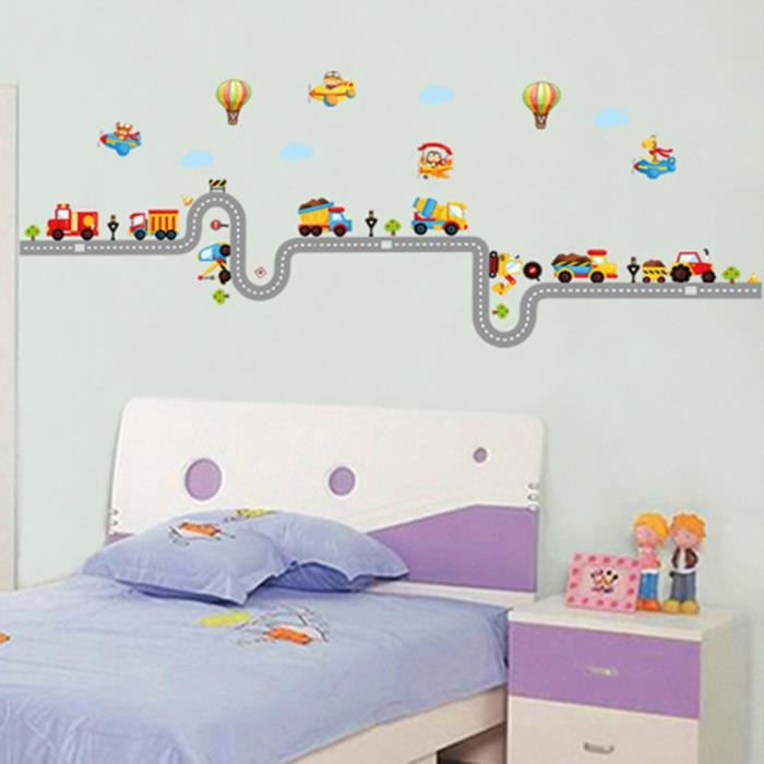 Mural maison decor enfants stickers muraux voitures sur la for Cn mural designs
