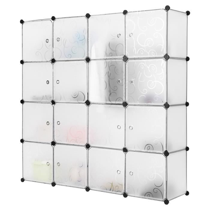 langria 16 cube interlocking modular etag re de stockage avec porte translucide blanc achat. Black Bedroom Furniture Sets. Home Design Ideas