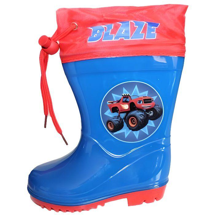 bottes de pluie blaze et les monster machines bleu et rouge