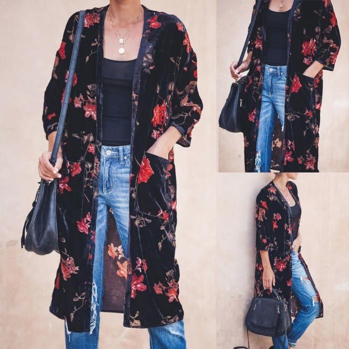 Mode Femme Cardigans Loisir Manche Longue Poche Boutons Casuel Manteau Plus