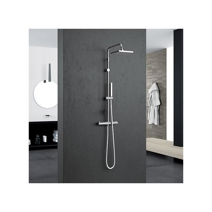 colonne de douche thermostatique novellini easy 2 carr e 20 cm achat vente colonne de douche. Black Bedroom Furniture Sets. Home Design Ideas