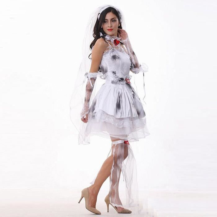 cadavre mari e robe de mariage dentelle halloween type taille unique achat vente costume. Black Bedroom Furniture Sets. Home Design Ideas
