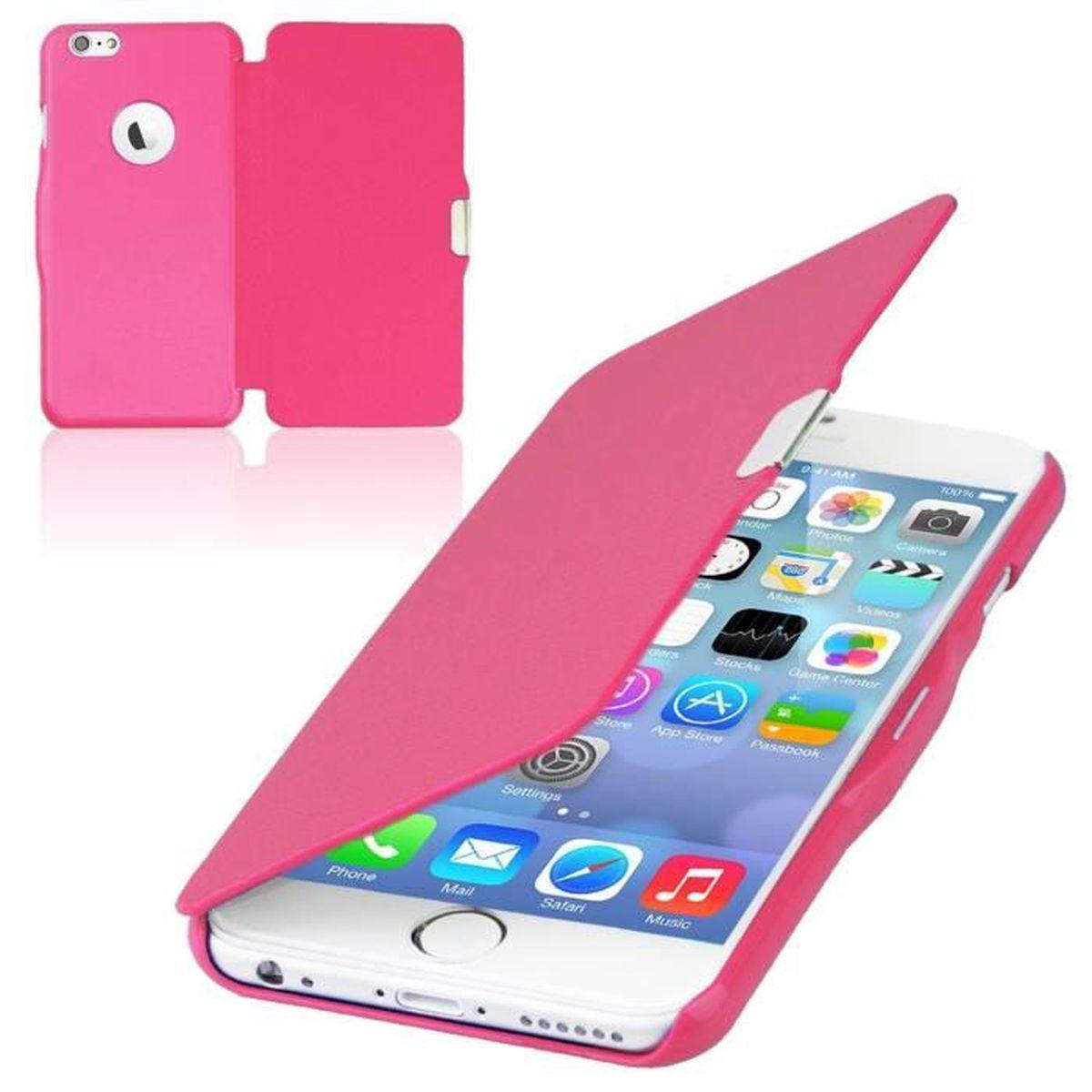 coque iphone 6 6s rabat magnetique rose