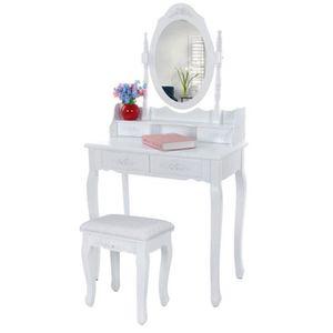 COIFFEUSE Coiffeuse table maquillage blanche avec miroir et