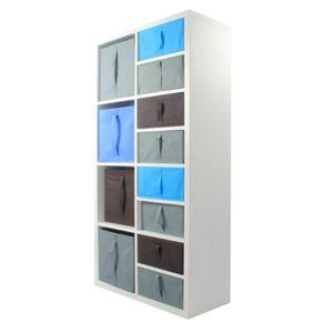 MEUBLE ÉTAGÈRE COMPO Meuble De Rangement Blanc 8 cases + 12 cubes