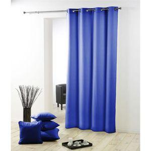 RIDEAU Rideau a oeillets Essentiel  bleu indigo 140 x 260