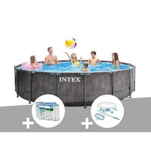 PISCINE Kit piscine tubulaire Intex Baltik ronde 4,57 x 1,