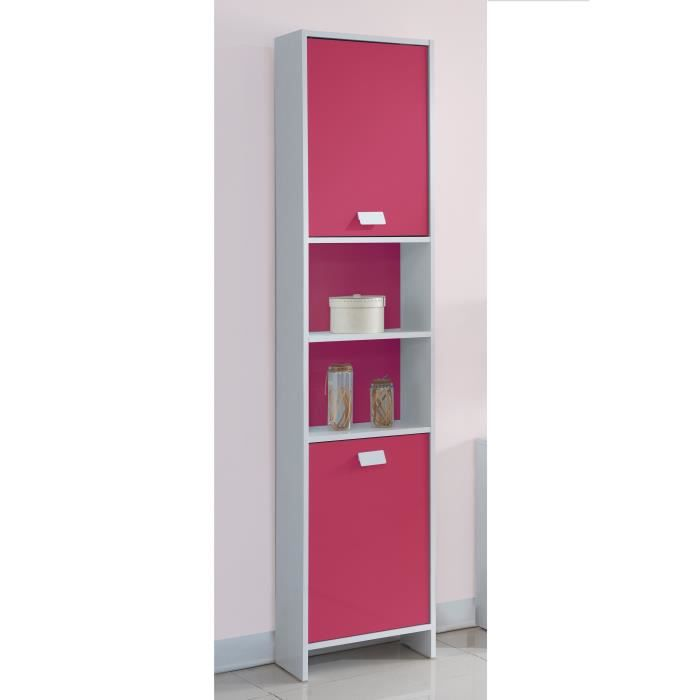 top colonne de salle de bain l 40 cm blanc et fuchsia achat vente colonne armoire sdb. Black Bedroom Furniture Sets. Home Design Ideas