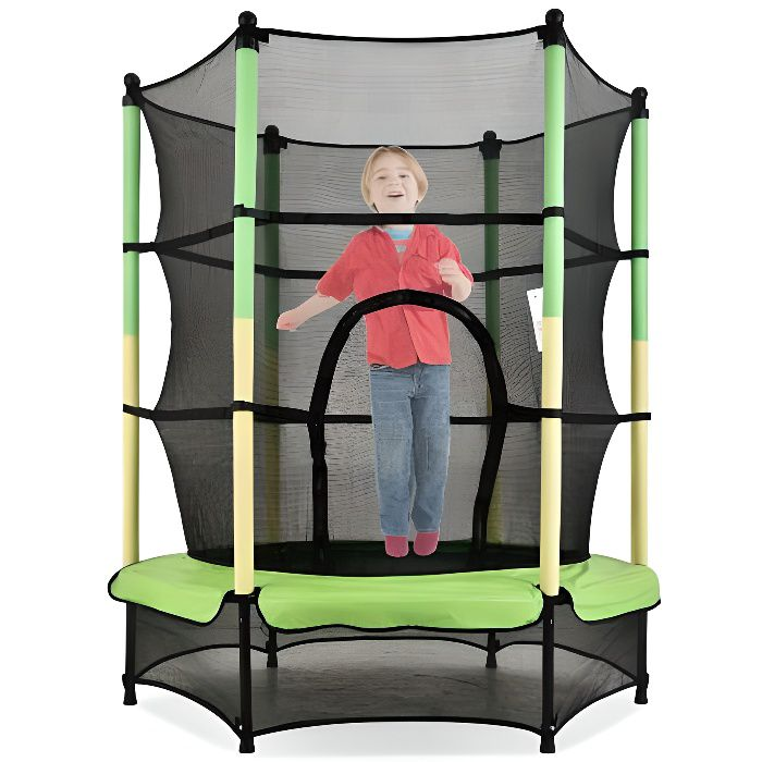 Grand Trampoline fitness pliable pour deux-Trampoline adulteenfant-jeu plein air,Trampoline de jardin, bleu et vert ,142*92*128cm