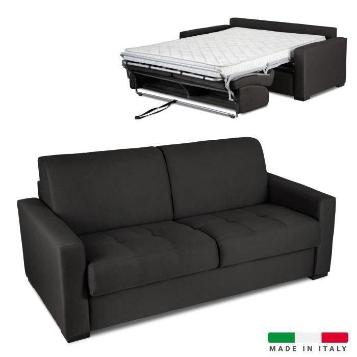 Canapé convertible 3 places LOUNA en tissu gris anthracite ouverture express