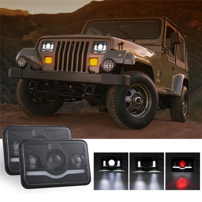 Phare carré 4x6 pouces 150W LED Hi-Lo rouge DRL pour camion de voiture Chevrolet SUV YZZ90313004_1788