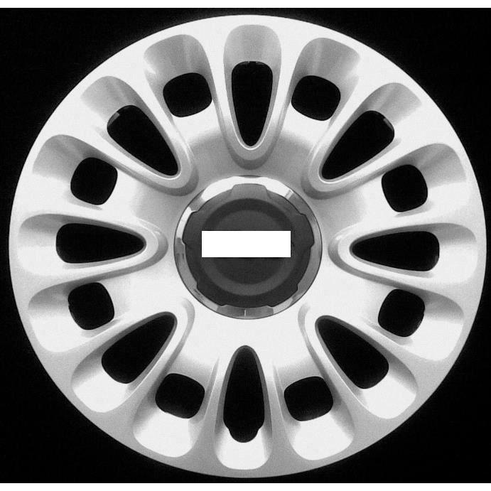 JEU DE 4 ENJOLIVEURS DE ROUES15 -POUCES POUR FIAT 500 L 2012>