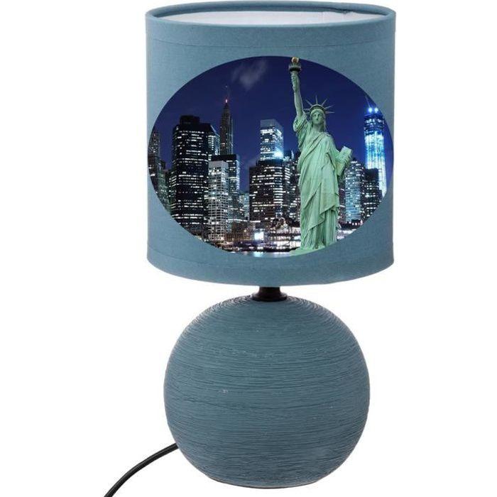 LAMPE DE CHEVET NEW YORK BLEU