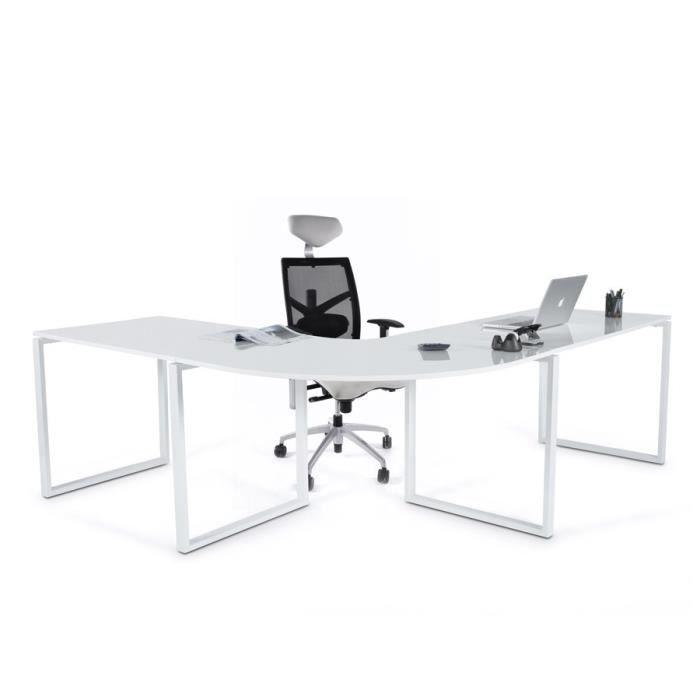 Bureau d'angle 'NORDIK' en bois blanc laqué design