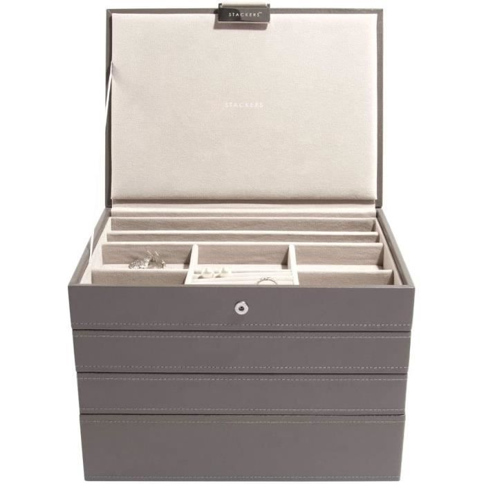 Stackers by LC Designs STACKERS Set of 4 'CLASSIC SIZE' - Mink STACKER Set of 4 Jewellery Box with Grey Velvet Finish Li 20359