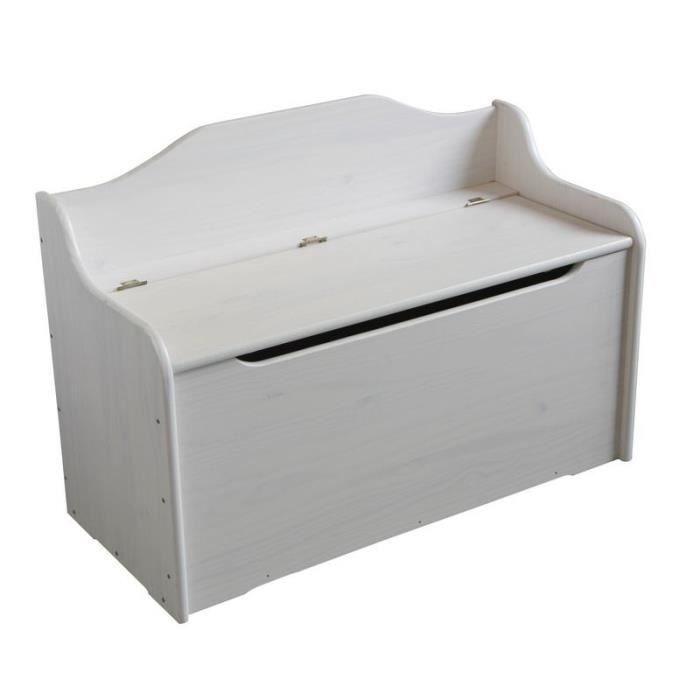 Coffre banquette Pin massif cérusé blanc