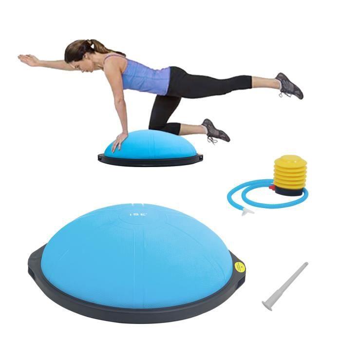 ISE Balance trainer, Demi-Ballon d'Entraînement Ø 64 cm,avec Câbles de Resistance et Pompe,pour Yoga, Gymnastique,Bleu
