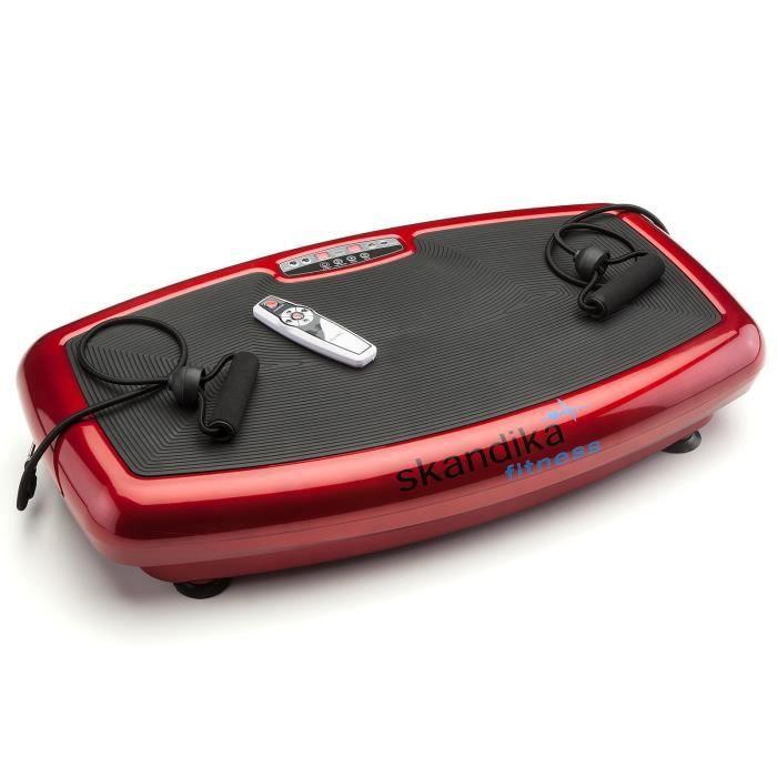 SKANDIKA Plateforme vibrante oscillante Mixte Plate 600 - Télécommande et 2 affichages LCD - Rouge